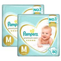 Kit Fralda Pampers Premium Care Jumbo Tamanho M 160 Unidades -