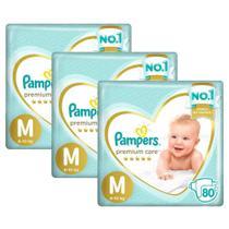 Kit Fralda Pampers Premium Care Jumbo Tamanho M 240 Unidades -
