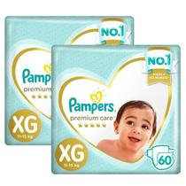 Kit Fralda Pampers Premium Care Jumbo Tamanho XG 120 Unidades -