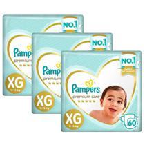 Kit Fralda Pampers Premium Care Jumbo Tamanho XG 180 Unidades -
