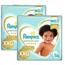 Kit Fralda Pampers Premium Care Jumbo Tamanho XXG 112 Unidades -