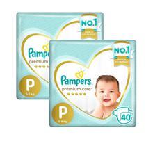 Kit fralda Pampers Premium Care Mega Tamanho P 80 Unidades -