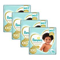 Kit Fralda Pampers Premium Care Nova Jumbo Tamanho XXG 224 Unidades -