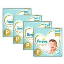 Kit Fralda Pampers Premium Care Nova Mega Tamanho P 160 Unidades -