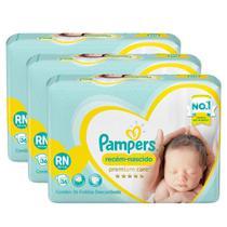 Kit Fralda Pampers Premium Care Recém Nascido com 108 unidades - 2 à 4,5Kg -