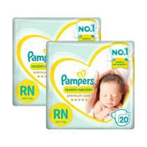 Kit Fralda Pampers Premium Care Recém Nascido com 40 unidades - 3 à 6 Kg -