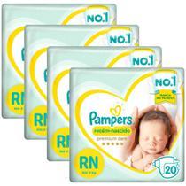 Kit Fralda Pampers Premium Care Recém Nascido com 80 unidades - Até 4kg -
