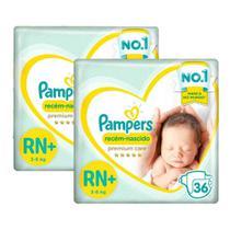 Kit Fralda Pampers Premium Care Recém Nascido Plus com 72 unidades - 3 à 6 Kg -