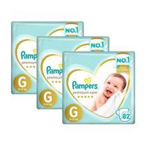 Kit Fralda Pampers Premium Care Top Tamanho G 246 Unidades -