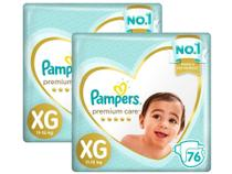 Kit Fralda Pampers Premium Care Top Tamanho XG 152 Unidades -