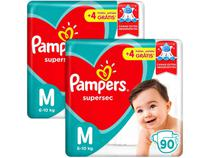 Kit Fralda Pampers Supersec Tam. M - 6 a 10kg 180 Unidades