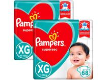 Kit Fralda Pampers Supersec Tam. XG - 11 a 15kg 136 Unidades