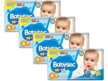 Kit Fraldas Babysec Ultrasec  - Tam. M 5 a 9,5kg 4 Pacote C/ 80 Unid. - Baby Sec -