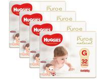 Kit Fraldas Fralda Huggies Premium Puro e Natural  - Tam. G 9 a 12,5Kg 4 Pacotes com 32 Unidades Cada