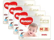 Kit Fraldas Huggies Premium Puro e Natural - Tam. M 5,5 a 9,5Kg 4 Pacotes com 36 Unidades Cada