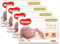 Kit Fraldas Huggies Premium Puro e Natural - Tam. P 0 a 6kg 4 Pacotes com 36 Unidades Cada