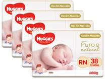 Kit Fraldas Huggies Premium Puro e Natural - Tam. RN 0 a 4kg 4 Pacotes com 38 Unidades Cada