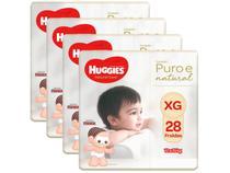 Kit Fraldas Huggies Premium Puro e Natural - Tam. XG 12 a 15kg 4 Pacotes com 28 Unidades Cada