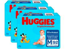 Kit Fraldas Huggies Tripla Proteção Tam. M - 5,5 a 9,5kg 3 Pacotes com 92 Unidades Cada