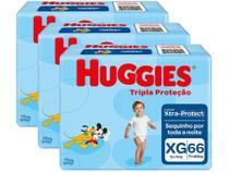 Kit Fraldas Huggies Tripla Proteção Tam. XG - 12 a 15kg 3 Pacotes com 66 Unidades Cada