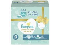 Kit Fraldas Pampers Chá de Bebê Tam. G 9 a 13kg - com 30 Unidades com 48 Lenços Umedecidos