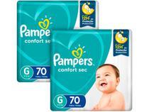 Kit Fraldas Pampers Confort Sec Tam. G 9 a 12,5kg - 2 Pacotes com 70 Unidades Cada