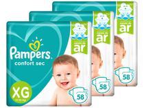 Kit Fraldas Pampers Confort Sec Tam. XG 3 Pacotes - 58 Unidades Cada