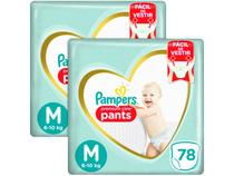 Kit Fraldas Pampers Premium Care Pants Calça   - Tam. M 6 a 10kg 2 Pacotes com 78 Unidades Cada