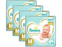 Kit Fraldas Pampers Premium Care Tam. M  - 6 a 10Kg 34 Unidades Cada 4 Pacotes