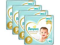 Kit Fraldas Pampers Premium Care Tam. P  - 5 a 8kg 40 Unidades Cada 4 Pacotes