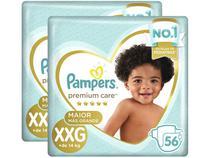 Kit Fraldas Pampers Premium Care Tam. XXG  - + de 14kg 2 Pacotes com 56 Unidades Cada
