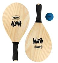 Kit Frescobol 2 Raquetes e Bola Madeira Aloha Mor 3699 -