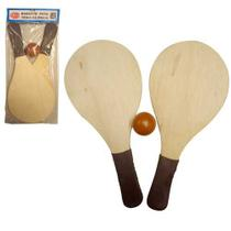 Kit Frescobol c/ 1 bola e 2 raquetes cores variadas - Acate