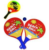 Kit Frescobol Com 2 Raquetes De Madeira Beach + Bolinha Sort - Fwb