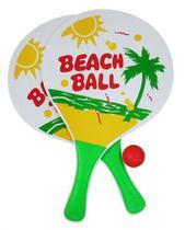Kit Frescobol com 2 Raquetes de Madeira e 1 Bola de Borracha Estampas Sortidas, Redstar, +3 Anos  - 125809 - Wincy