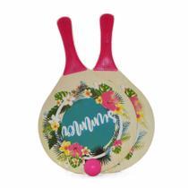 kit Frescobol de Praia 2 Raquetes e Bolinha Rosa Yins -