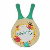kit Frescobol de Praia 2 Raquetes e Bolinha Verde Yins -