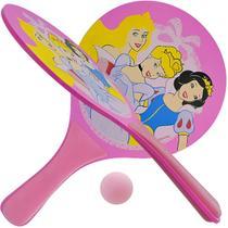 Kit Frescobol Em Madeira Com 2 Raquetes E 1 Bola Princesas Disney - Amacom