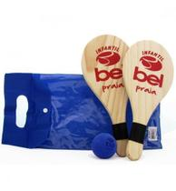 Kit Frescobol Infantil Com 2 Raquetes + Bolinha + Bolsa - Belfix