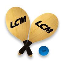 Kit Frescobol Lcm Com 2 Raquetes E 1 Bola De Borracha -