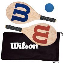 Kit Frescobol Logo Wilson 2 Raquetes + 1 Bola Original -