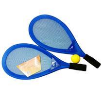 Kit Frescobol Praia Leader Completo 2 Raquetes + Bolinha 256 - Azul -