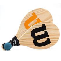 Kit Frescobol Wilson Com 2 Raquetes De Madeira Laranja e Preta + 1 Bola -