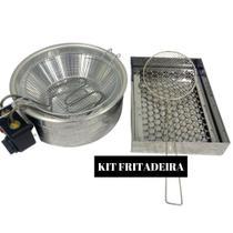 Kit Fritadeira Elétrica 3,5 a 5 Litros com Escorredor  + Escumadeira Tacho Redondo - Compre Tudo
