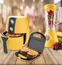Kit Fritadeira + Liquidificador + Sanduicheira - Amarelo - Cadence