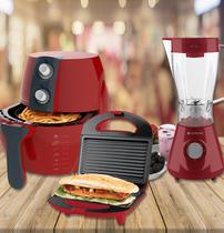 Kit Fritadeira + Liquidificador + Sanduicheira - Vermelho - Cadence