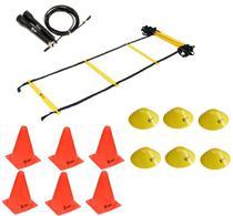 Kit Funcional Escada de Agilidade + Speed Rope + 6 Cones + 6 Half Cone Chapéu Chinês - Odin fit