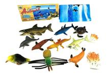 Kit Fundo Do Oceano Brinquedo 12 Animais Peixe Tartaruga Foca. - Toy King