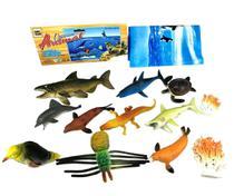Kit Fundo do oceano Brinquedo 12 Boneco Peixe Tartaruga Foca - Fisher Price