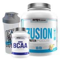 Kit Fusion Protein Foods 2kg Baunilha + BCAA + Coqueteleira  BRNFOODS - Brn Foods